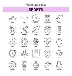 Sports line icon set - 25 dashed outline style vector