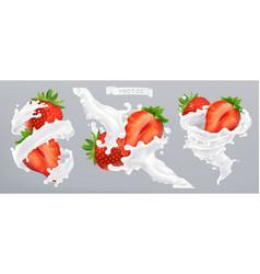 Strawberry and milk splash yogurt 3d realistic vector