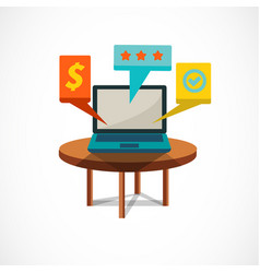tablet with icon on wood table vector image