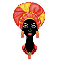 the head a nice lady on head an african vector image