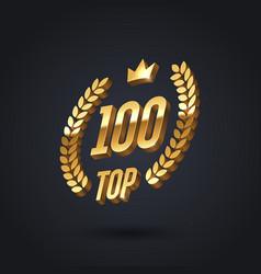 Top 100 award emblem golden award logo vector