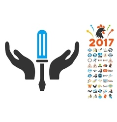 Tuning Screwdriver Maintenance Icon With 2017 Year vector