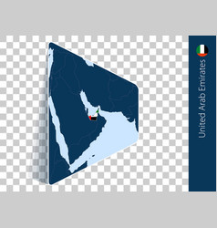 United arab emirates map and flag on transparent vector