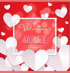 valentines day sale red background calligraphy vector image