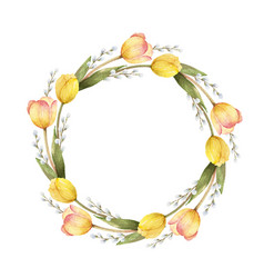 watercolor frame with flowers tulips vector image