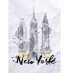 Watercolor new york buildings vector