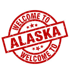 Welcome to alaska red stamp vector