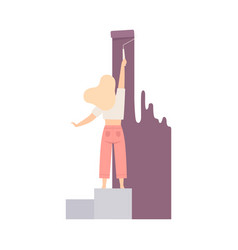 Woman paints the wall with roller in lilac flat vector
