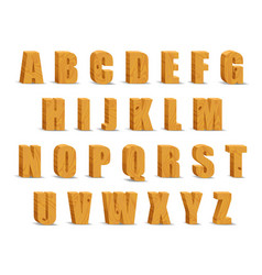 wooden alphabet blocks with shadow vector image