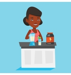 Young woman making protein cocktail vector image