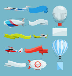 Zeppelins and airplanes with empty banners for vector