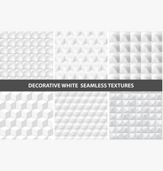 decorative white seamless textures vector image vector image