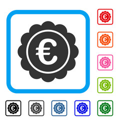 euro reward seal framed icon vector image vector image