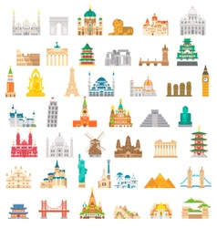 Flat design famous landmark set vector image