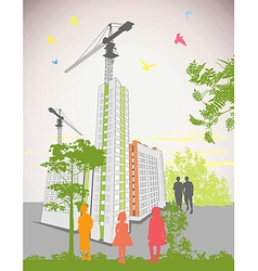 high rise buildings vector image