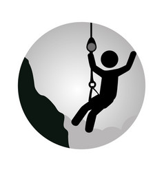 circular frame with man climbing a rope vector image