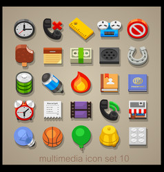 multimedia icon set-10 vector image