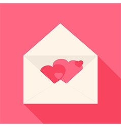 Open envelope with hearts inside vector image vector image