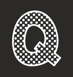 Q alphabet letter with white polka dots on black vector