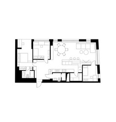 architectural plan with the furniture vector image