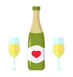 bottle of champagne with glasses flat icon vector image vector image