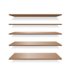 brown wood shelves with shadows vector image