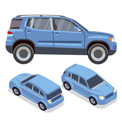 flat-style cars in different views blue vector image vector image