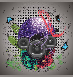 grunge purple disco ball vector image