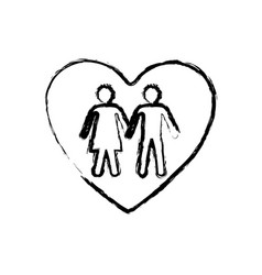 monochrome sketch of couple inside of heart vector image