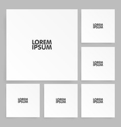 square paper set mock up with shadow vector image