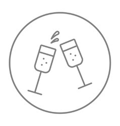 Two glasses of champaign line icon vector image vector image