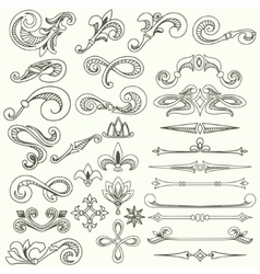 Collection of vintage hand drawn elements vector image vector image