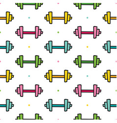 dumbbells and dots seamless pattern background vector image