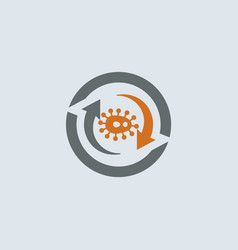 gray-orange virus round icon vector image vector image