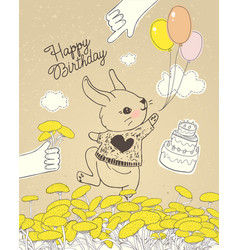 Hand drawn rabbit with colorful balloons on floral vector
