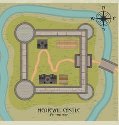 Medieval castle map vector