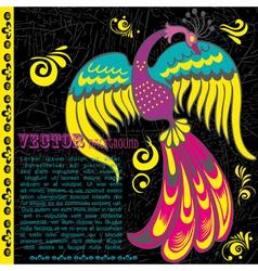 Retro grunge background with bird vector image