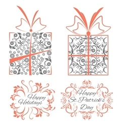 Set decorative ornamental objects boxes frames vector image vector image