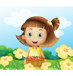 A girl holding a basket of fruits vector image