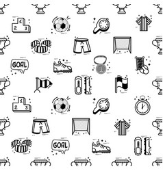 a set of soccer icons - seamless pattern vector image
