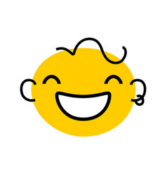 abstract smile yellow face with line hair ears vector image