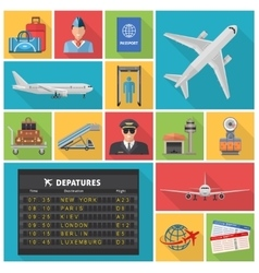 Airport Decorative Flat Icons Set vector image
