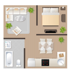 apartment design with furniture top view vector image