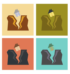 Assembly flat icons nature house earthquake vector