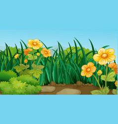 Background scene with flowers in garden vector