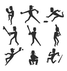 baseball team player sport man silhouette vector image