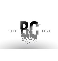 Bc b c pixel letter logo with digital shattered vector