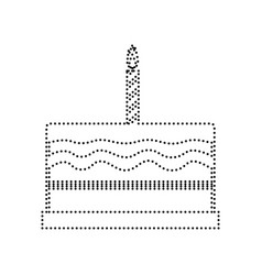 Birthday cake sign black dotted icon on vector