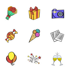 birthday party icons set cartoon style vector image