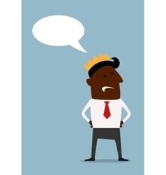 Black businessman in crown with speech bubble vector